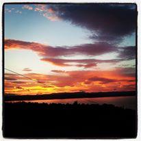 Solnedgang fra hytta mi på Øst-Modum
