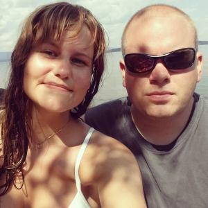"Øyvind og jeg tar en ""strandselfie""."
