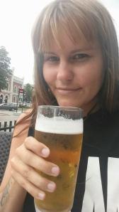 En iskald øl i Drammen sentrum.